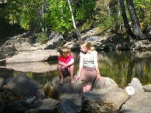 """Kyle and Colly """"doing PE"""" in Boulder Creek this morning."""