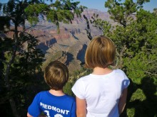 """Kyle and Colly survey the canyon from a roadside stop. The stated the obvious -- """"It's so big"""" -- and the not-so-obvious: """"It looks fake."""""""