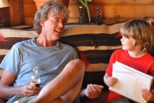 It's easy to get excited about writing and literature when you're with my brother David. Here, Kyle reads his essay aloud to his uncle, which prompted some exciting discussion about something.