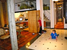 Kyle and Colly can't get enough of sliding on the polished floors.