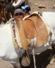 Colly handled her horse and its unusual tack well and loved galloping on the trail.