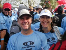 Sarah and I in the crowd waiting for the start of the 42k Salomon Marathon