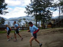 Early in the race with Lake Nehuel Huapi in the background