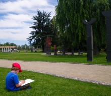 We gave the kids an art lesson in Santiago's sculpture garden, one of several well-kept parks in Chile's capital city.