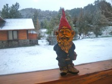 To my dismay, I saw more fresh snow outside our window a few mornings ago (not what we need in advance of the trail marathon). The gnome on the windowsill seemed to mock me.
