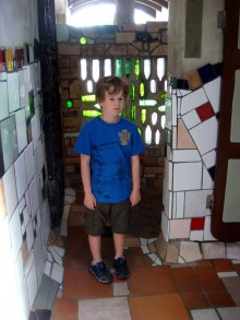 Kyle was not very impressed by the famous Hundertwasser Toilets.