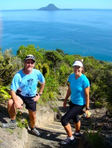 Morgan and me on a run above Whakatane in the Bay of Plenty with Sarah van der Boom, who took this picture.