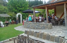 The garden setting of The Jester House Cafe near Nelson, where the food isn't the main attraction.