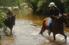 Kyle manage to ride English by himself for the first time and guide his reluctant pony through the creek.