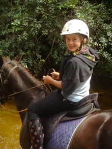Colly took her horse through the deepest part and got her jeans soaked!