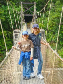 The West Coast tracks feature numerous suspension bridges like this one over the Ngakawau River. I found them scary but Kyle and Colly loved to make them bounce.