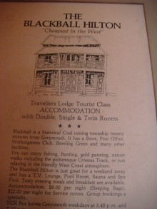 "A vintage advertisement for The Blackball Hilton, ""Cheapest In the West"" (click to enlarge)."