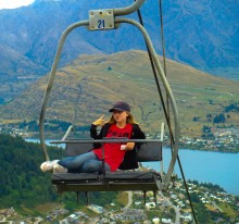 Colly struck a pose on the chairlift to the luge overlooking Queenstown.