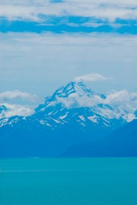 Mount Cook, NZ's tallest mountain (3754m or 12,316ft) as seen on our drive next to Lake Tekapo.