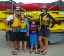 Morgan, Colly, Kyle and I are packed and ready to head up the coast on a water taxi to start the three-day trip.