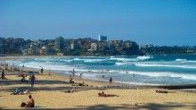 Surf's up on Manly Beach.