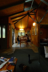 Our cabin here has the kind of cozy kitchen we seek when researching rentals.